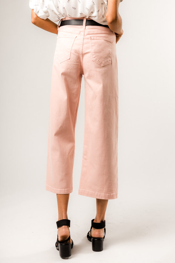 Flying Monkey Devon Wide Leg Denim in Blush