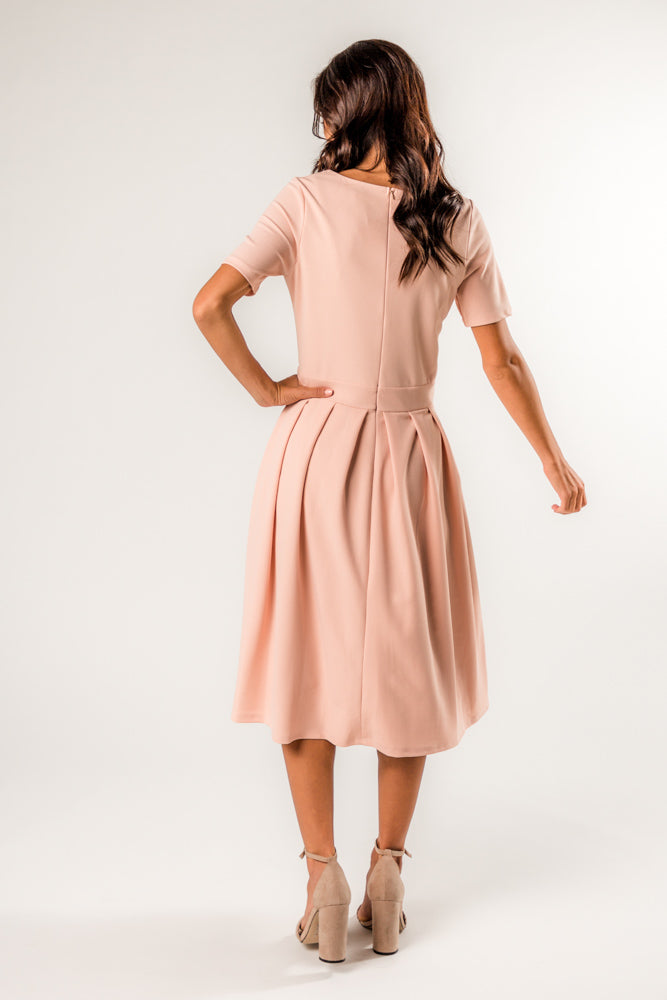 Sabrina Pleated Midi Dress in Blush