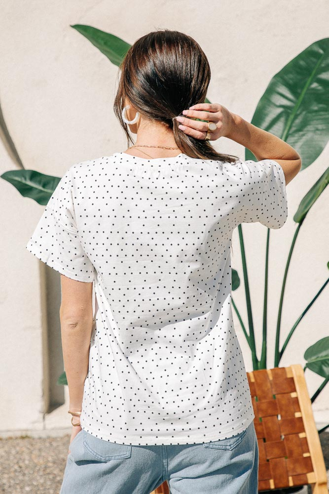 Over-Sized Polka Dot Tee in White