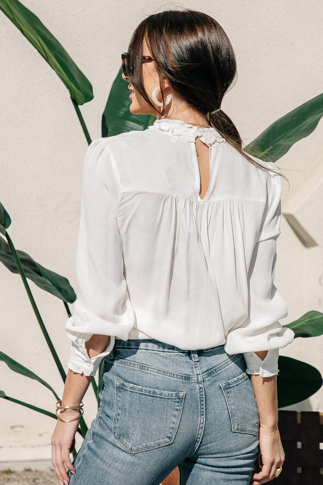Candice Mock Neck Blouse in White