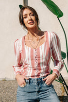 Allegra Striped Button Down Top - FINAL SALE