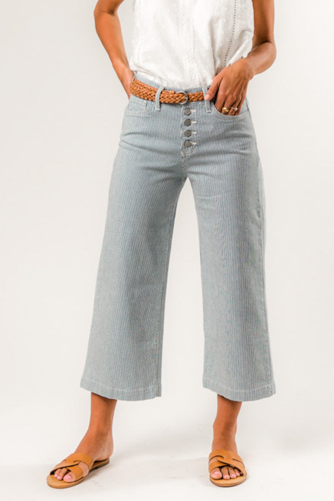 Flying Monkey All Pinstripe Wide Leg Denim