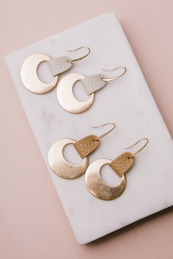 Manu Bay Leather + Metal Earrings in Ivory