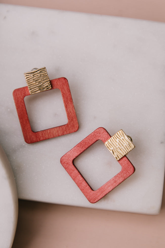 Squared Up Wooden Earrings in Coral