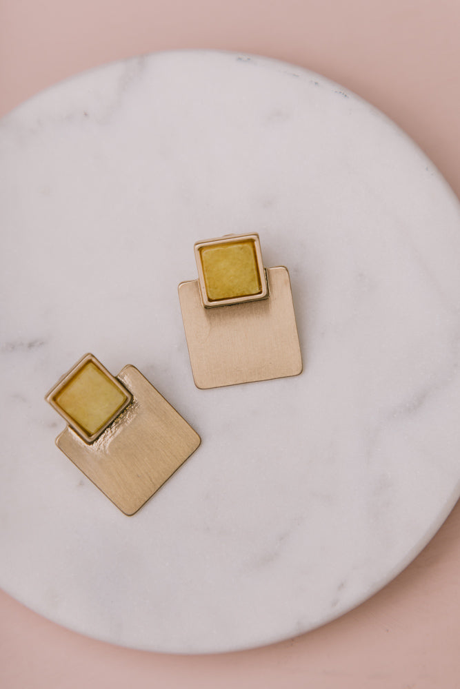 Quite the Square Earrings in Yellow