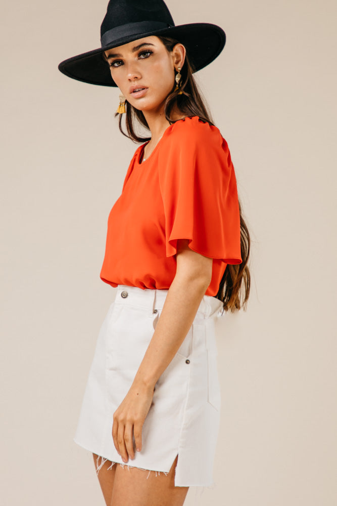 Olivia Flutter Sleeve Top
