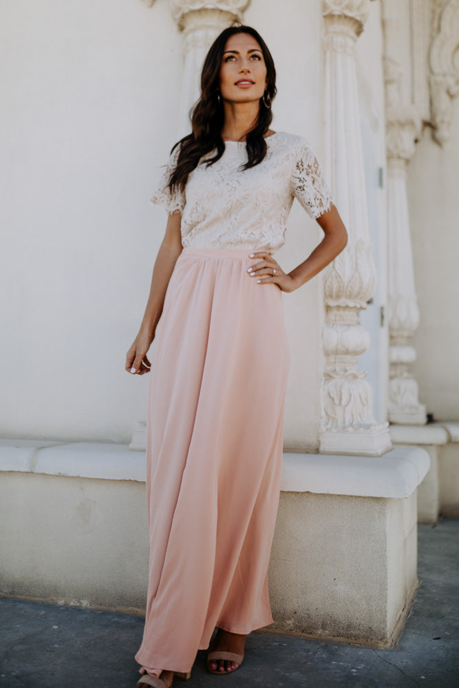 Penelope Maxi Skirt in Blush