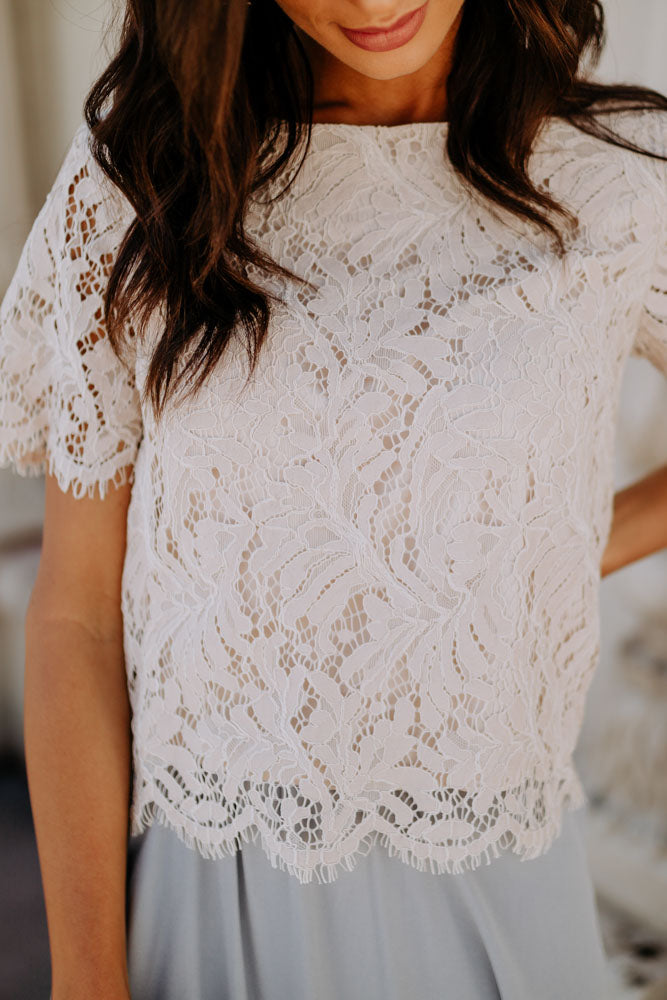 Peyton Lace Crop Top in Nude