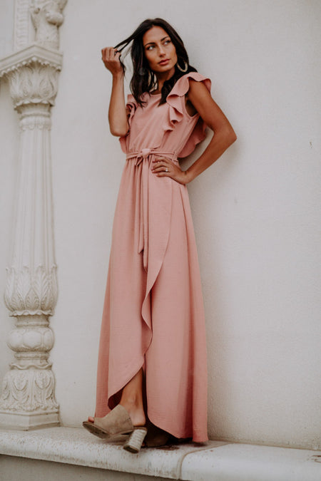 Karina Ruffle Maxi Dress in Peach - Final Sale