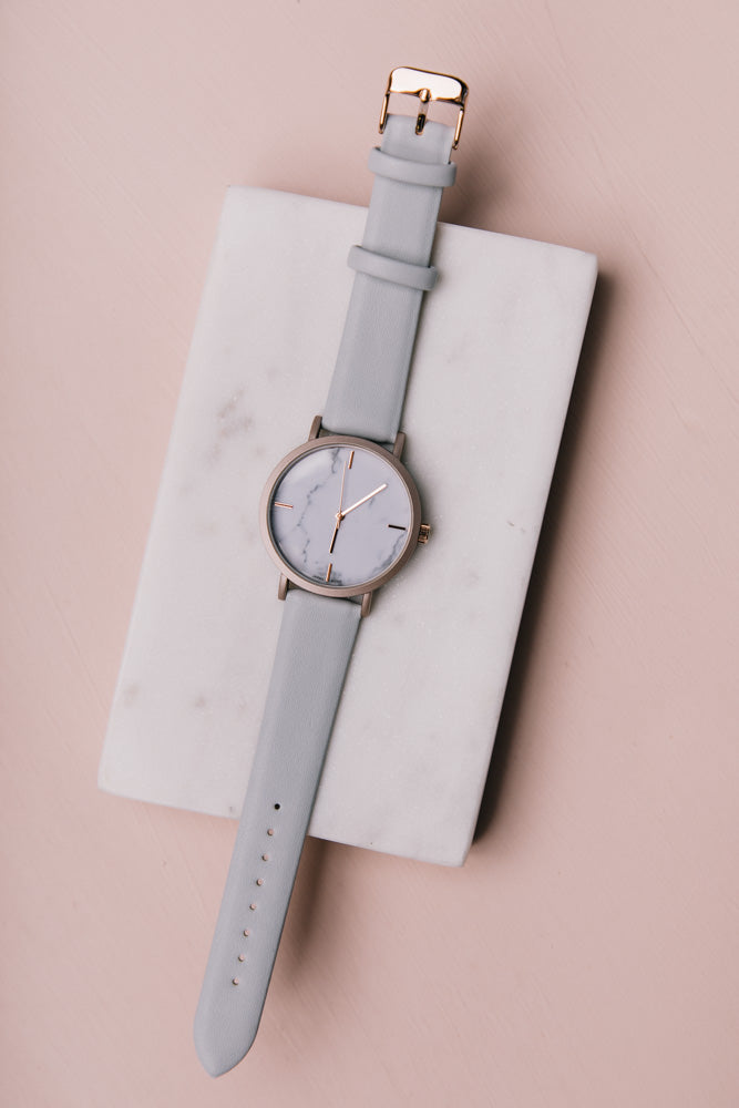 Marisol Leather Watch in Light Blue