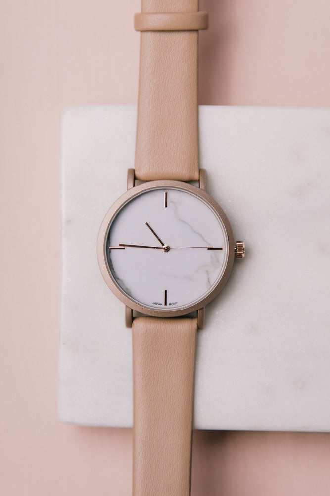 Marisol Leather Watch in Beige