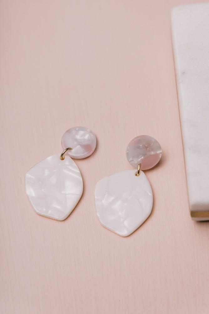White + Pink Acrylic Earrings