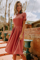 Sabrina Pleated Midi Dress in Mauve