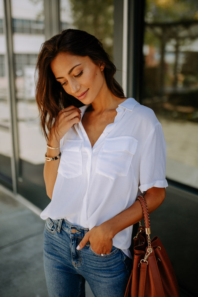 Need This Button Up Collar Blouse in White