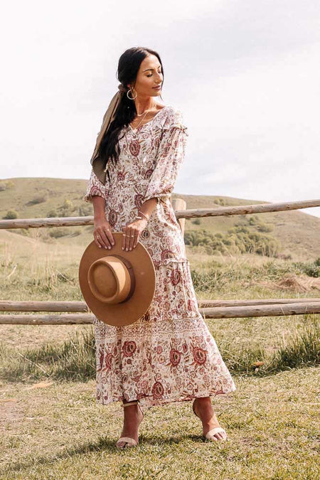 Arielle Floral Maxi Dress in Red-FINAL SALE