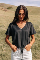 Wren Drawstring Top in Black