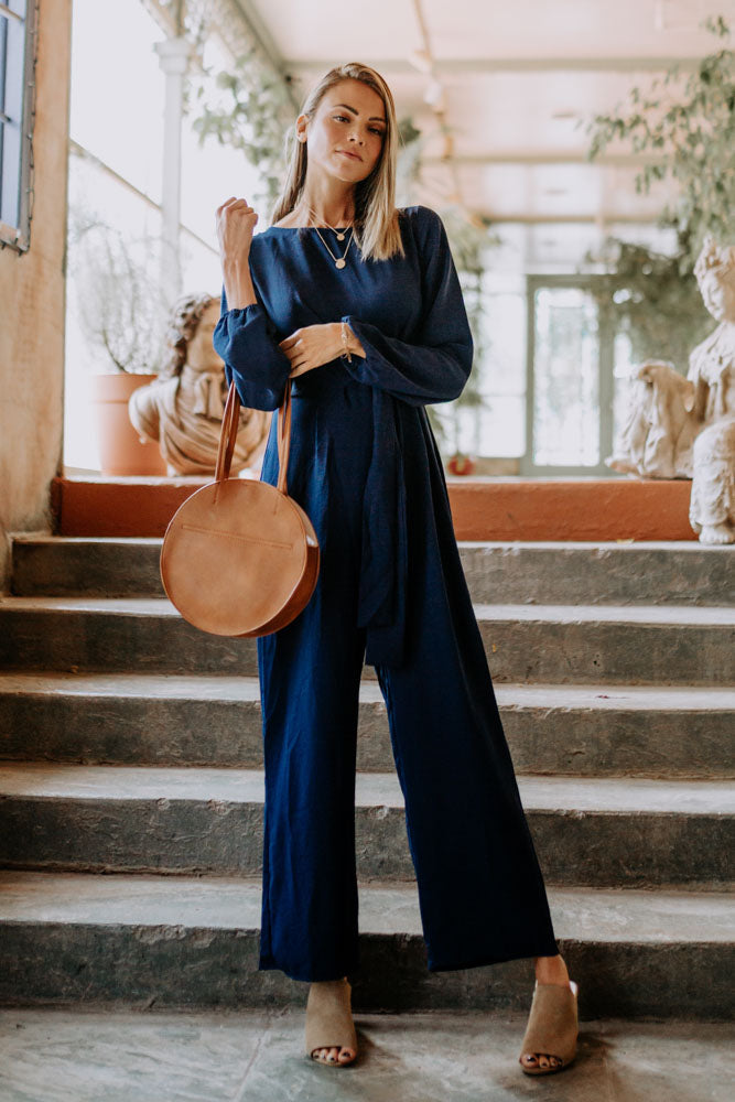 Knot Sorry Wide Leg Jumpsuit in Navy-FINAL SALE