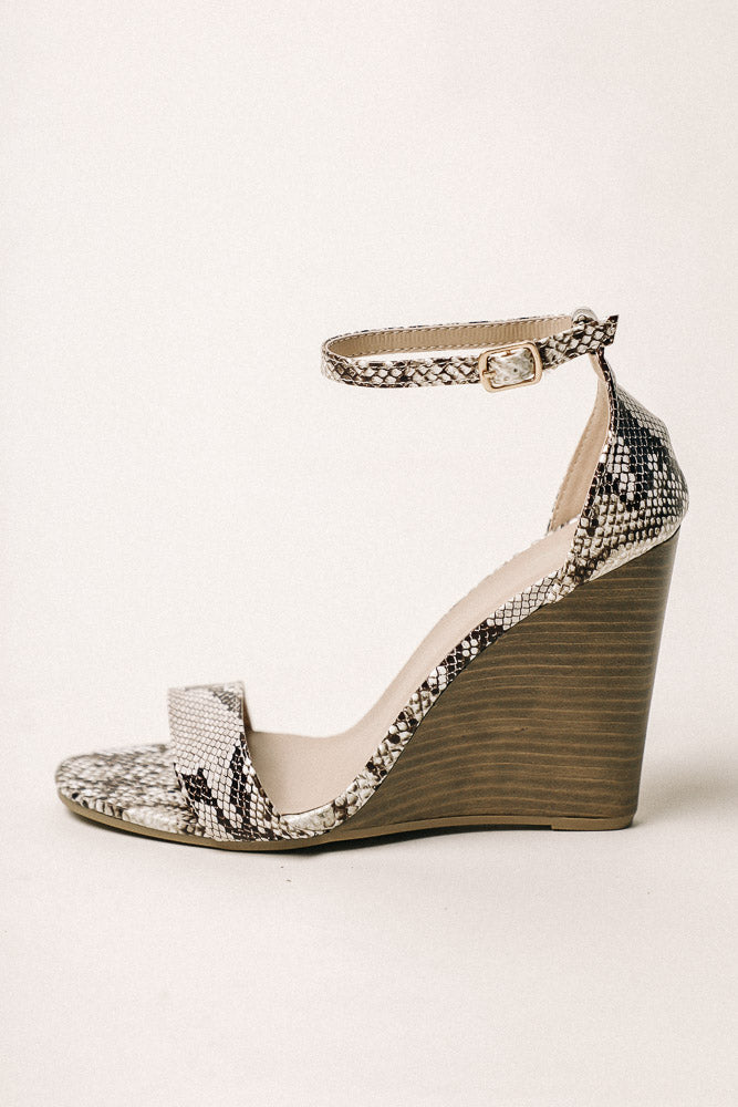 Donya Wedges in Snake Print - FINAL SALE