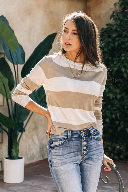 Vero Moda Riene Striped Top in Taupe