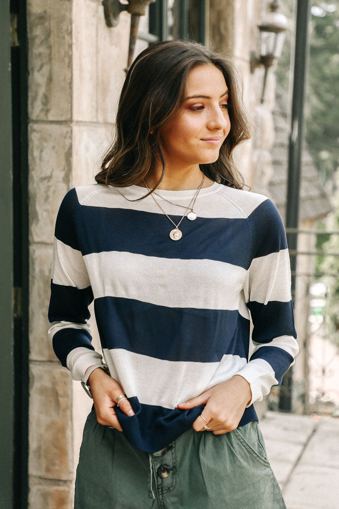 Vero Moda Riene Striped Top in Navy