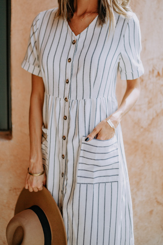 Katie Striped Midi Dress - Final Sale
