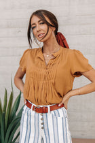 Mustard Pleated Top