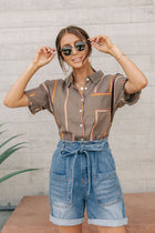 Collins Striped Button Down Cropped Top