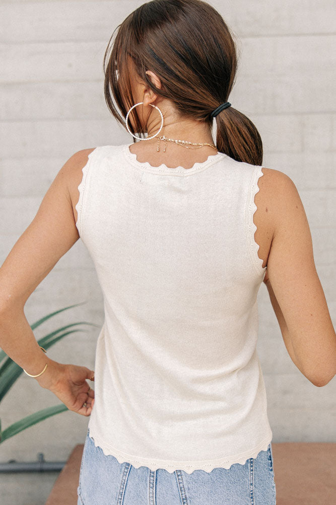 Vero Moda Scallop Edge Tank in Cream