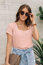 Debby Square Neck Top in Pink