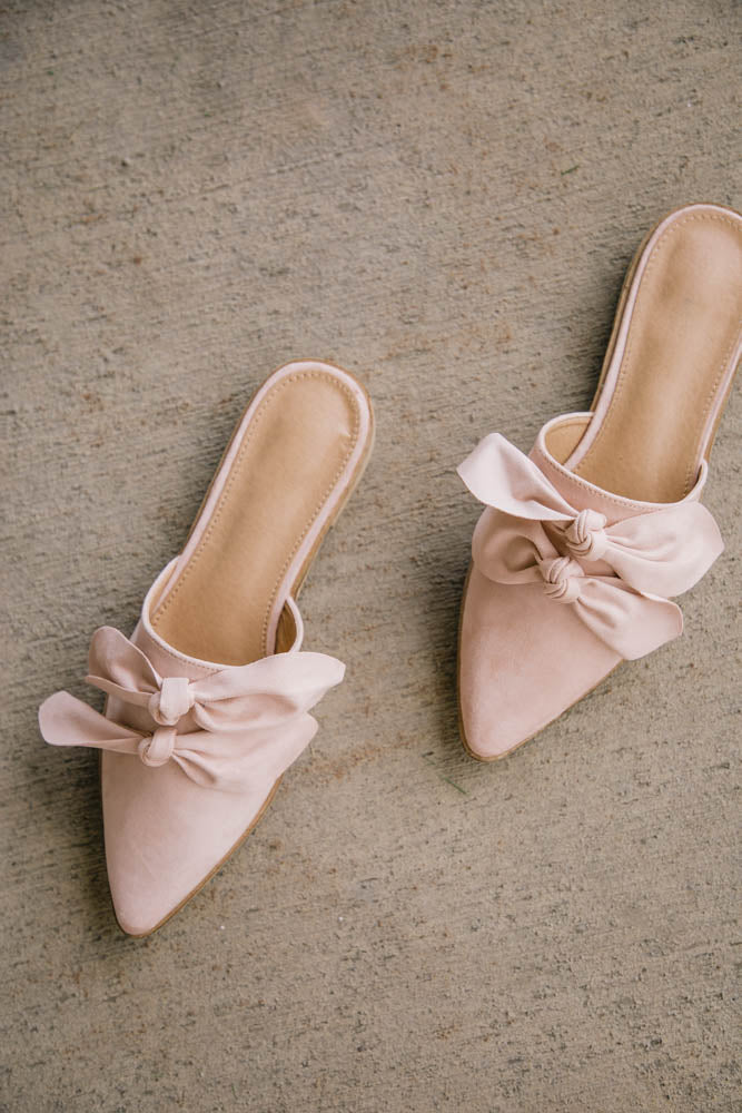 Gia Bow Mules in Blush