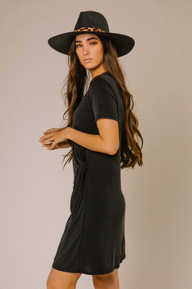 Stella Crew Neck Dress in Black