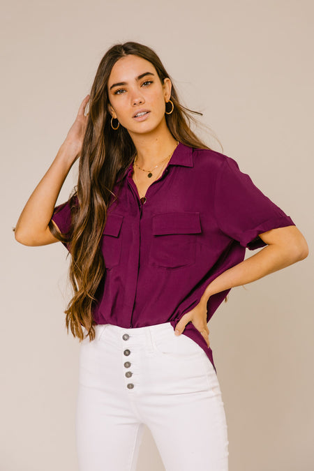 8aea80d647052 Need This Button Up Collar Blouse in Plum