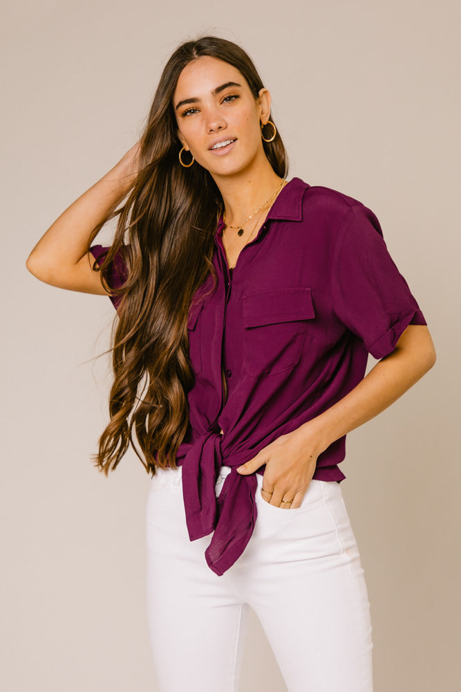 Need This Button Up Collar Blouse in Plum