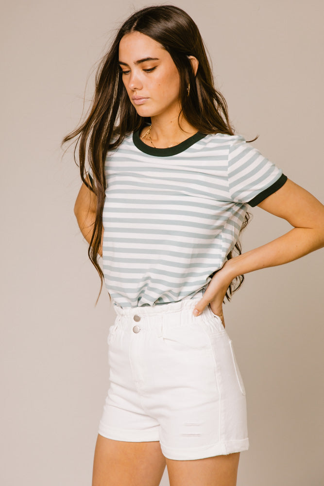 Harlie Striped Tee in Sage