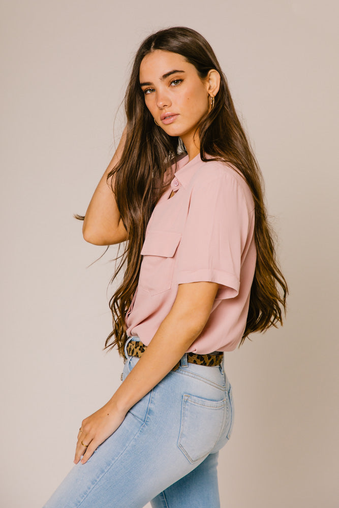 Need This Button Up Collar Blouse in Mauve
