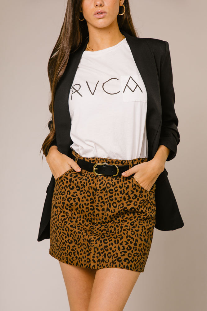 All Leopard Print Denim Skirt