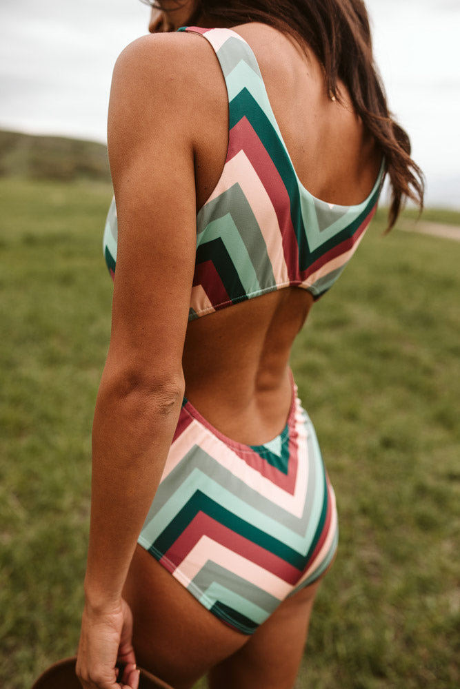 Chevron Open Back One Piece - FINAL SALE