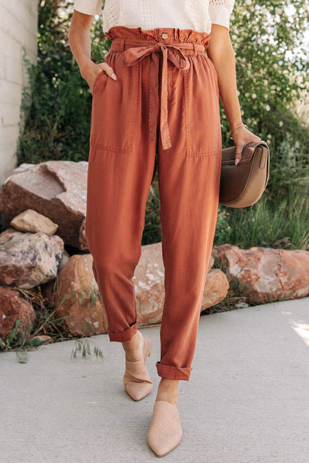 Tencel Paperbag Pants in Rust