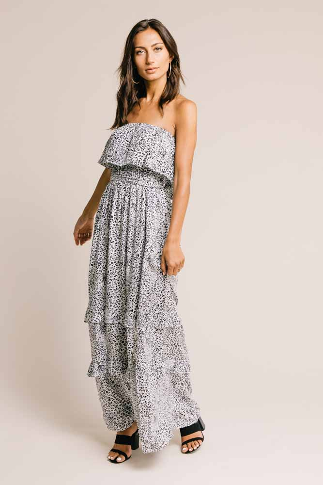 White Leopard Maxi Dress - FINAL SALE