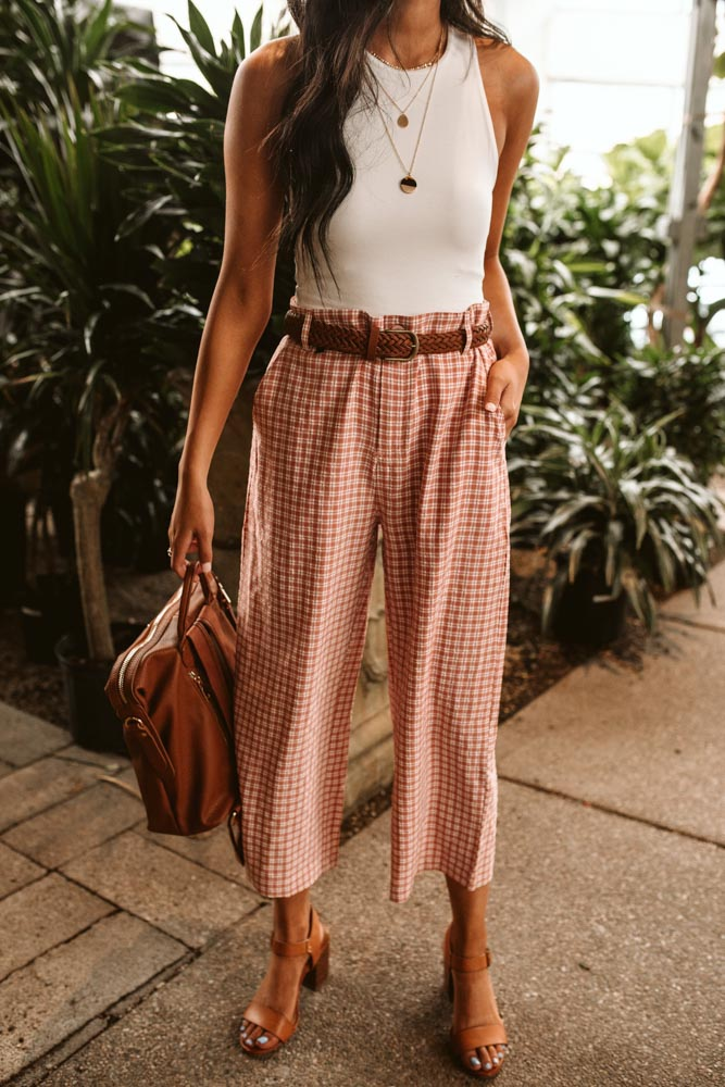Terry Gingham Pants
