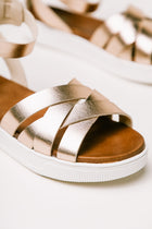 MIA Criss-Cross Sandals in Rose Gold