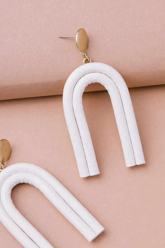 Arches Drop Earrings in White