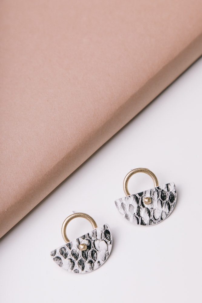 Leather Fan Earrings in Snake Print