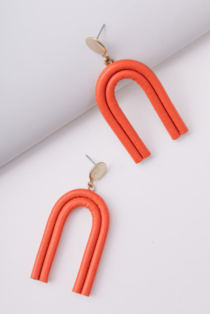 Arches Drop Earrings in Red