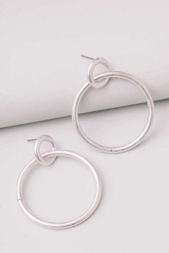 River Hoop Earrings in Silver