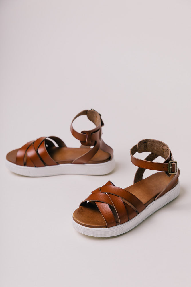 MIA Criss-Cross Sandals in Cognac