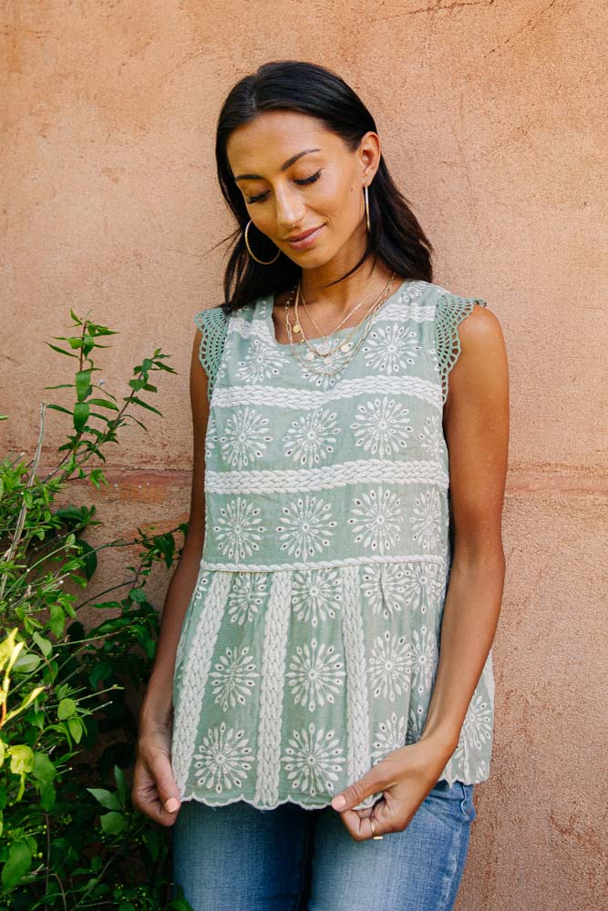 Demi Embroidered Top in Sage Green