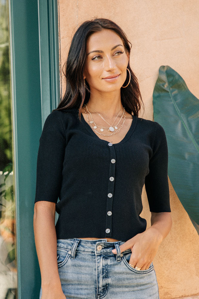 Rebecca Button Down Sweater in Black