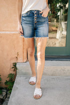 Bohme Button Fly Shorts in Dark Wash