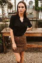 All Leopard Print Denim Skirt - Final Sale